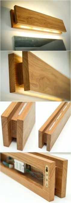 Wooden sconces - Handmade Oak Wooden Sconce Wall Lamps & Sconces SC Sconce Wooden wall lamp with a simple functional design Soft yellow LED lighting This lamp has two options switch is located aside or with wir