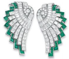 925 Sterling silver Green Baguette Round Art Deco Vintage Style Dangle Earring* #NIKI #DropDangle