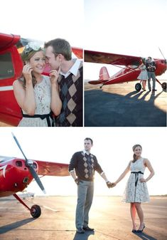 Terrific Travel Inspired Engagement Shoot – Style Me Pretty aviationwedding Airplane Wedding, Aviation Wedding, Pilot Wedding, Airplane Photography, Couple Photography, Travel Photography, Engagement Pictures, Engagement Shoots, Prenup Photos Ideas