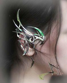 "Dragon Ear Cuff ""Aspects of Storm 2"" - Metal, Silver, gold, jewelry art, dragon"