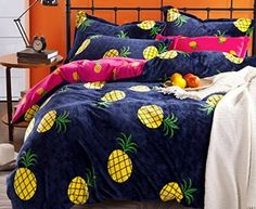 Melife® 4 Pieces Reactive Printing Pineapple Pattern Bedding Set Duvet Cover Sheet Pillow case Bed-Linen