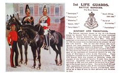 Life Guards, by E. Military Cards, Military Gear, Military History, British Army Uniform, British Uniforms, Tribal Outfit, Lifeguard, Armed Forces, Old Pictures