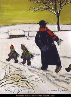 Original mixed media painting by Normand Hudon New BOOK available November 9 2014 #hudon #art #caricaturist #family #winterscene #mixedmedia #canadianartist #quebecartist #originalpainting #balcondart #multiartltee
