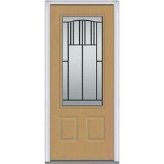 Milliken Millwork 36 in. x 80 in. Madison Decorative Glass 3/4 Lite Painted Fiberglass Smooth Prehung Front Door,