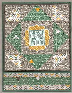 Stampin' Up! ... handmade quilt card from Linda's Crafty World ... almost looks like the triangles are floating in the patchwork design ... great card!