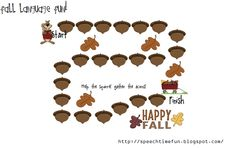 Speech Time Fun: Fall Language Fun!  Fall themed language activity pack!  Preposition cards, yes/no question card game, match emotions to situation cased, and an open-ended board game!