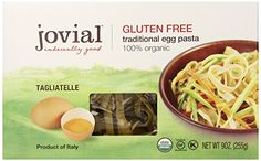 Jovial Foods Organic Gluten Free Traditional Egg Pasta, Egg Tagliatelle, 9 ounce  Price: 8,68$  https://www.amazon.com/gp/product/B00EJXUNBK/ref=as_li_qf_sp_asin_il_tl?ie=UTF8&tag=bestselle0b0f-20&camp=1789&creative=9325&linkCode=as2&creativeASIN=B00EJXUNBK&linkId=ae51f4a0ee4c21ed2d07e68dde320dbf