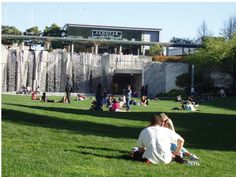 See the Martin Luther King, Jr. Exhibit hidden behind those waterfalls in  Yerba Buena Gardens, San Francisco SOMA