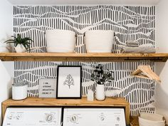 """Modern Laundry Room Refresh With Hand Drawn """"Wallpaper"""" Laundry Room Remodel, Laundry Room Organization, Laundry Room Design, Laundry Decor, Laundry Room Shelving, Laundry Closet Makeover, Basement Laundry, Organization Hacks, Layout Design"""