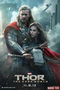 Thor (Chris Hemsworth) and Jane Foster (Natalie Portman) are ready for battle in this new poster for Marvel's #Thor: The Dark World! http://marvel.com/news/story/21126/thor_jane_get_ready_for_battle_in_new_dark_world_poster