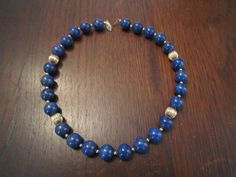 Lapis Lazuli Beads and Gold Plated Melon Beads Necklace by HeartoftheSouthwest on Etsy