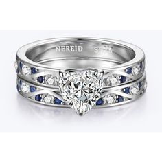 Heart-Shaped Diamond Engagement Ring Set (1.155.220 IDR) ❤ liked on Polyvore featuring jewelry, rings, heart jewelry, heart shaped diamond jewelry, heart ring, engagement rings and diamond engagement rings