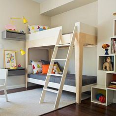 These shelves! And lamps too. Scandinavian Design Bunk Bed Bedroom
