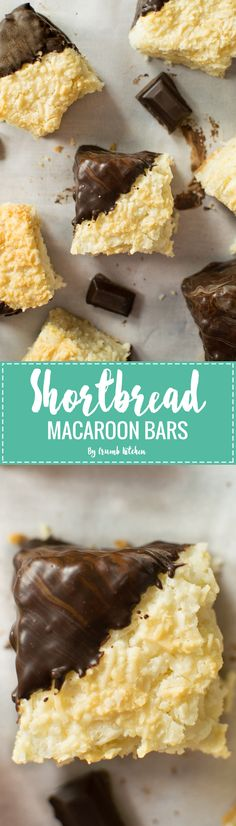 These Shortbread Macaroon Bars are made of a tender, buttery shortbread base, with layers of coconut macaroon and a coat of dark chocolate.   Crumb Kitchen