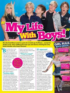 """Rydel Lynch talks about how the boys call dibs on girls, the boys talk requirements for rydel's crush/admirer. """"My life with boys"""" magazine article"""