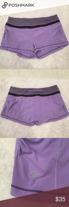 Purple Lululemon shorts Adorable purple shorts with a striped waistband from Lululemon. I'm not sure what the exact style of these is. I got them from another posher and unfortunately they're a little small on me. There is some normal wear in the fabric, but they are still in good condition and have plenty of life left! No major flaws or stains. Size dot confirmed size 6. lululemon athletica Shorts