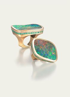 Opal, tourmaline and diamond ring by Tamsen Z