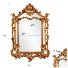 The Howard Elliott Collection Arlington Gold Baroque Mirror 84001 - The Home Depot Baroque Mirror, Mirror Panels, Wall Mirror, Mirrors Wayfair, Gold Leaf, Antique Gold, The Help, Things That Bounce, Decorative Pillows