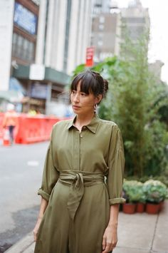 Datura Blog - LISA PRZYSTUP wears our Olive Green Silk Jumpsuit