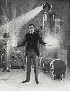 Warwick Goble, Nikola Tesla - The New Wizard of the West,Pearson's Magazine, May 1899
