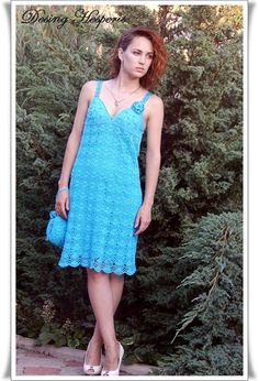 sale of 10% Knitted dress, summer dress, crocheted dress summer, elegant dress, blue dress, knitted handbag