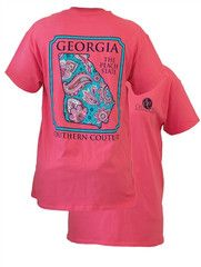 Southern Couture Georgia Preppy Paisley State Pattern Peach State Girl | SimplyCuteTees