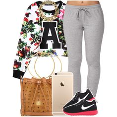 A fashion look from November 2014 featuring Forever 21 activewear pants, MCM handbags and AllSaints necklaces. Browse and shop related looks.