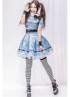 New #Lolita collection: ALICE Boat Neckline Plain Baby Blue Satin Lolita Dress With Bow Decoration And Sash #Lolitadress #lolitaskirt #lolitaclothing #Aliceadventureinwonderland