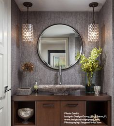 It is undeniable that powder room is the considerable part of your bathroom. You need the perfect design of powder room because it also affects the comfort that you feel the moment you are in the bathroom. Hence, below are ten ideas to remodel your p Powder Room Decor, Room Design, Home, Powder Room Design, Round Mirror Bathroom, Bathrooms Remodel, Bathroom Design, Bathroom Decor, Beautiful Bathrooms