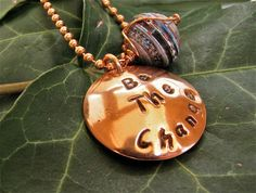 Copper Be the Change on beaded chain with paper by justbujewelry, $15.00