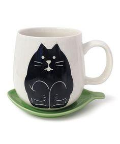 Another great find on #zulily! Black Cat 12-Oz. Mug & Leaf Lid #zulilyfinds