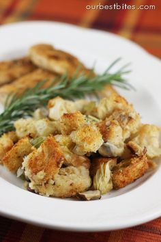 Artichoke Parmesan Sourdough Stuffing  | Our Best Bites  pretty good. next time will make with a little more bread and a little less broth. Did not add artichokes or parm, added about 2 T fresh sage.