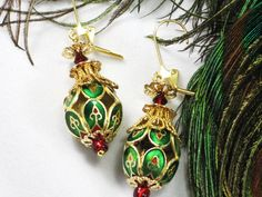 Byzantine Holiday Earrings - green red and gold cloisonne openwork beads by JMarieOfAtlanta, $25.00