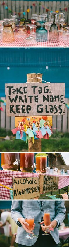 This is a great party idea, which we've used ourselves! I recommend using our etched glasses, of course, but this is fun too.
