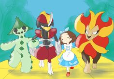 The Wizard of Oz and Pokémon Crossover. The Wizard of Pokéoz! With a Pokémon Trainer as Dorothy, Bisharp as Tin Woodman, Cactune as Scarecrow and Pyroar as Cowardly Lion.