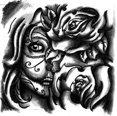 Sugar Skull Roses Tattoo