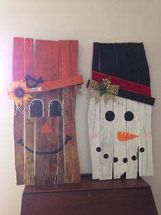 Reversible pallet wood one side snowman one side scarecrow!