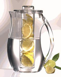 Fruit Infusion Drink Pitcher. Brilliant idea! I love water w/ lemons!
