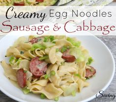 My lightened-up creamy egg noodles and sausage are big on flavor but not on fat. This is one of my favorite go-to comfort food recipes when it's cooler outside!