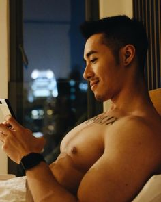 Dennis Siu looking at cute cat gifs (probably) #handsome #hot #sexy #celebrity #hunk