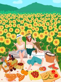 Cartoon Girl Drawing, Girl Cartoon, Et Wallpaper, Illustration Girl, Sunflower Illustration, Creative Poster Design, Illustrations, Art Sketchbook, Artist Art
