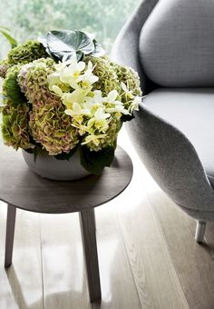 Beautiful flower decoration with hydrangeas and orchids made by florist Nicolai Bergmann.