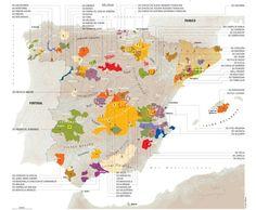 Mapa Zonas Vinícolas de España - D.O.
