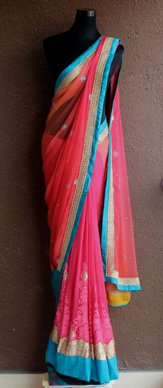 PSS185 Watermelon chiffon and georgette half and half saree More details : Watsapp on +91-9022 617481 or email : info@pritisahni.com