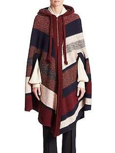 Chloé Wool & Cashmere Colorblock Poncho