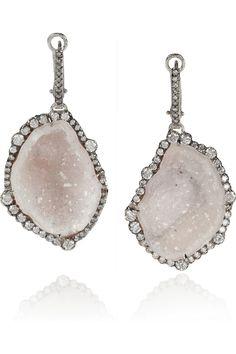 Kimberly McDonald|18-karat white gold, geode and diamond earrings