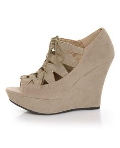 Taupe Lace-Up Bootie Wedges