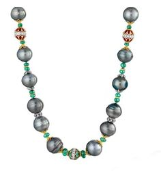 Verdura - Tahitian cultured pearl, emerald, ruby diamond and gold beads.