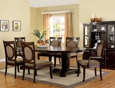 "7 PC Formal Walnut Wood Dining Set 18"" Leaf Table Chairs Fabric Seat"