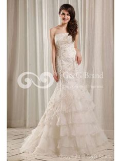 Ivory Satin Mermaid Bridal Gown Floor Length With Cascading Ruffles